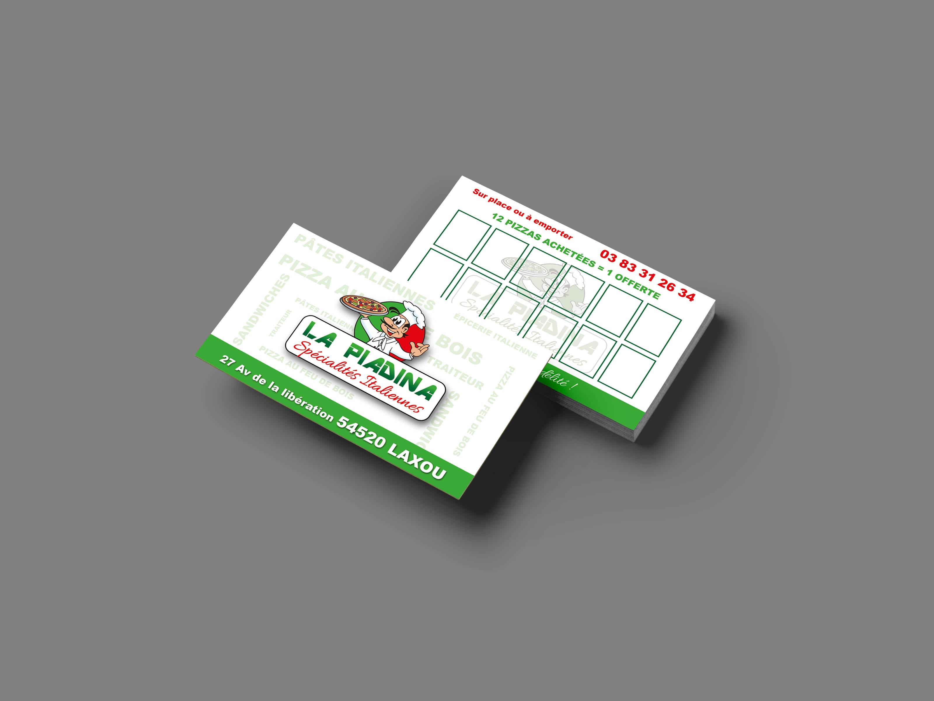 image cartes de visite pour la pizzeria la Piadina par ismacom