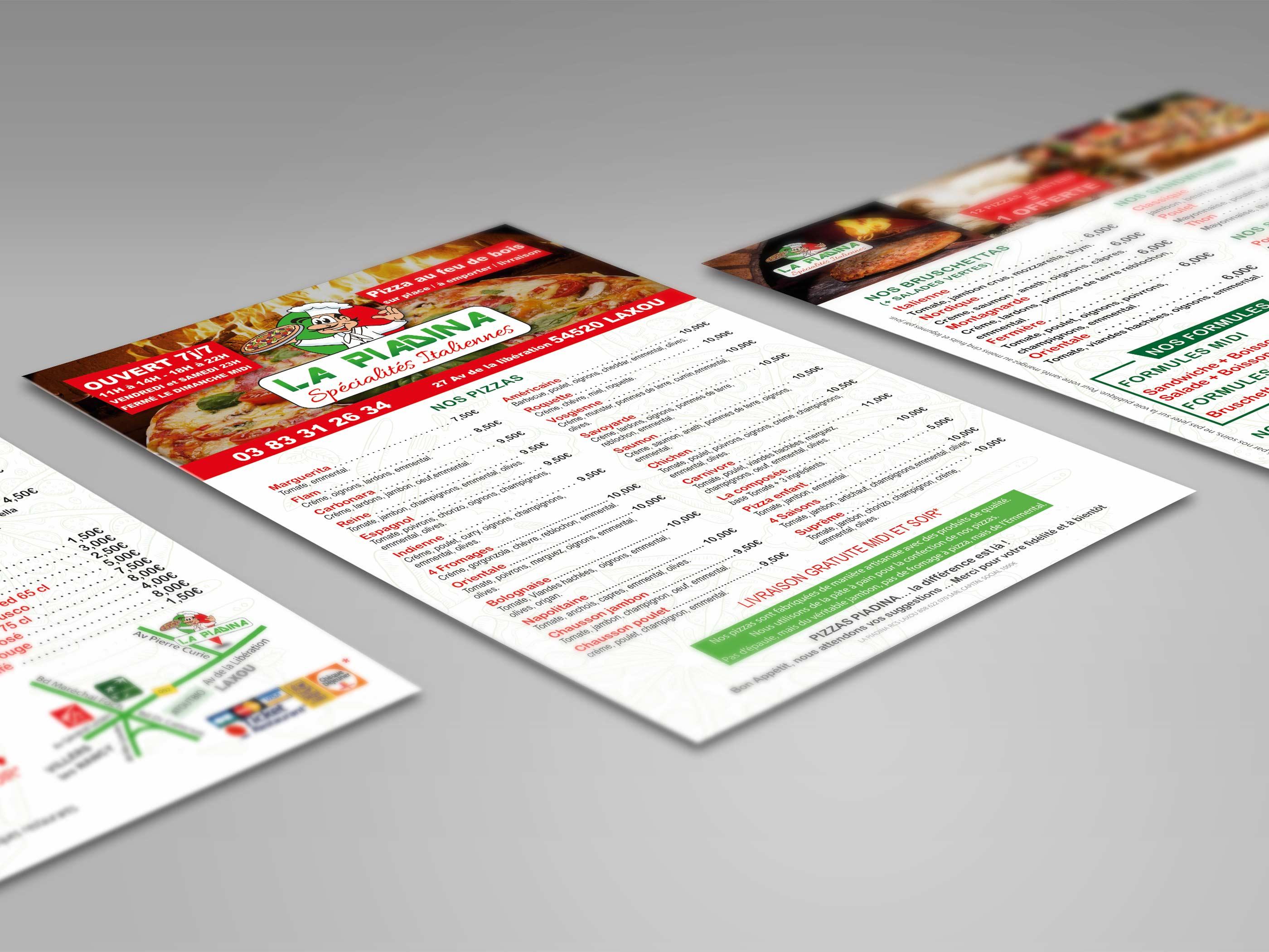 image flyer recto vesto pizzeria la Piadina par ismacom