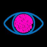 icon identité visuelle logo marque graphic design representé par un oeil dont l'iris est une emprunt digitale