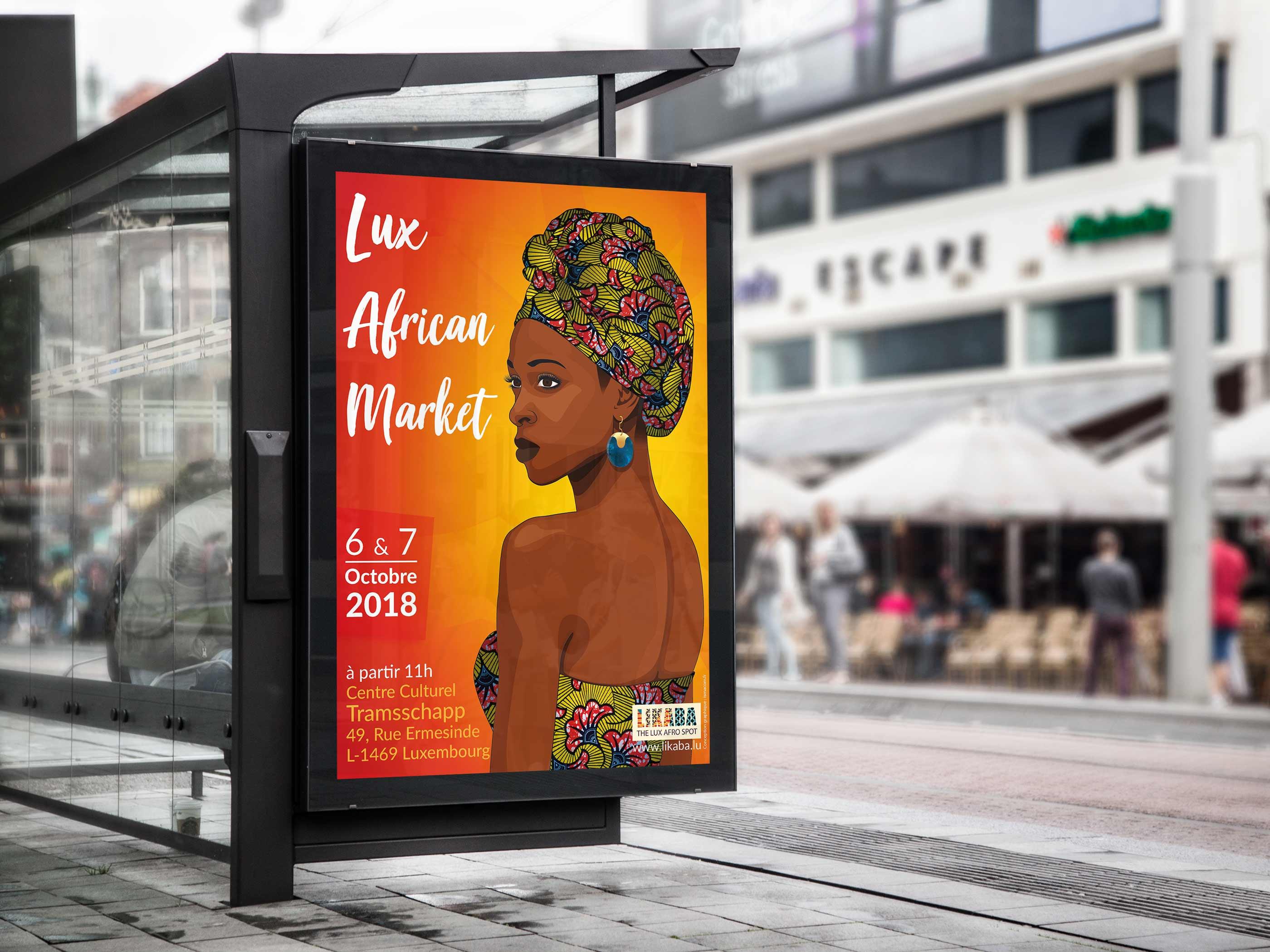poster création graphique illustration pour le Lux African Market
