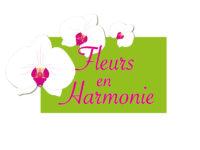 logo fleuriste fleurs en harmonie vert et rose - trois orchidée avec le texte