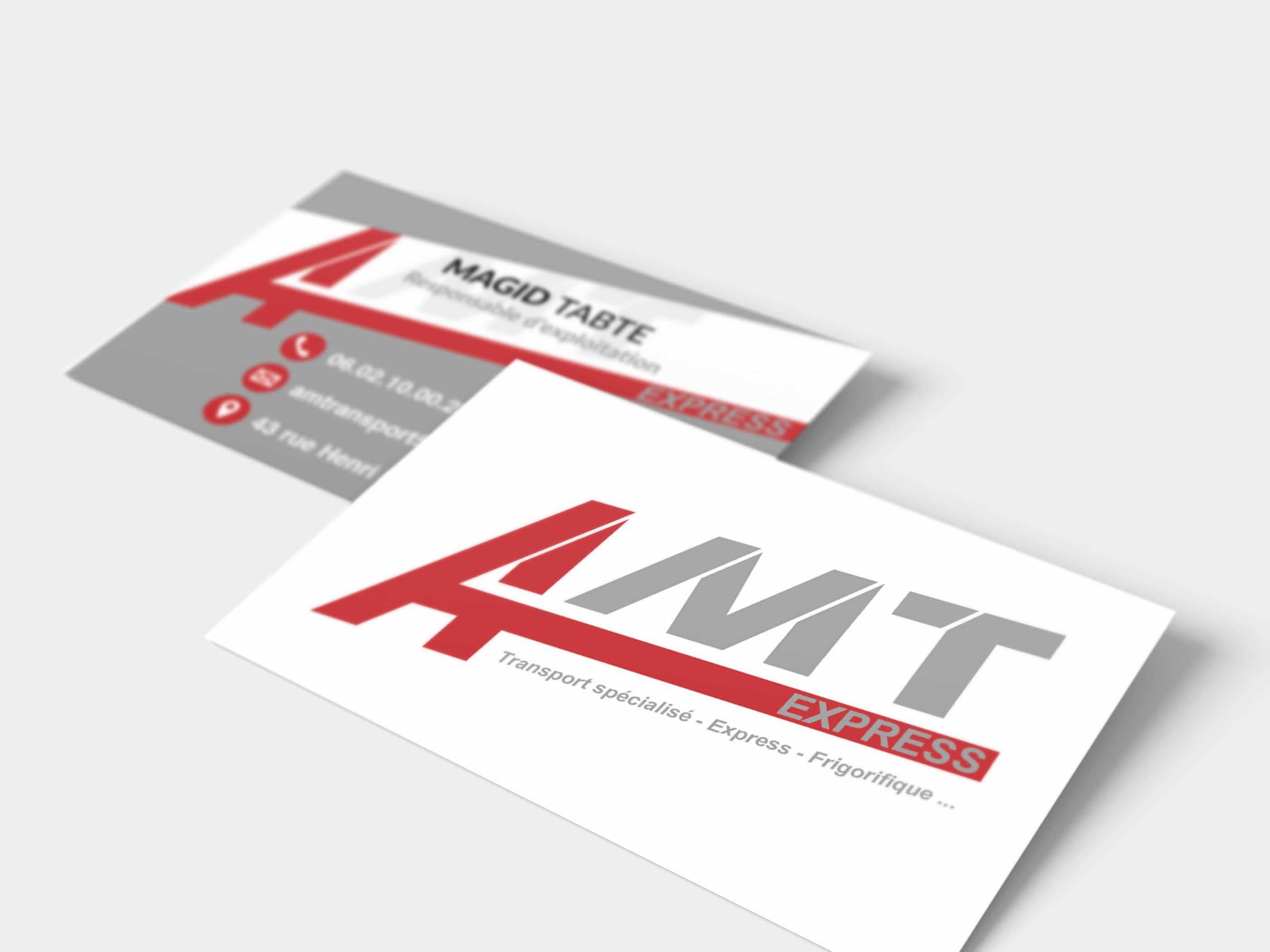 Cartes de visite pour société de transport routier amt express by ismacom