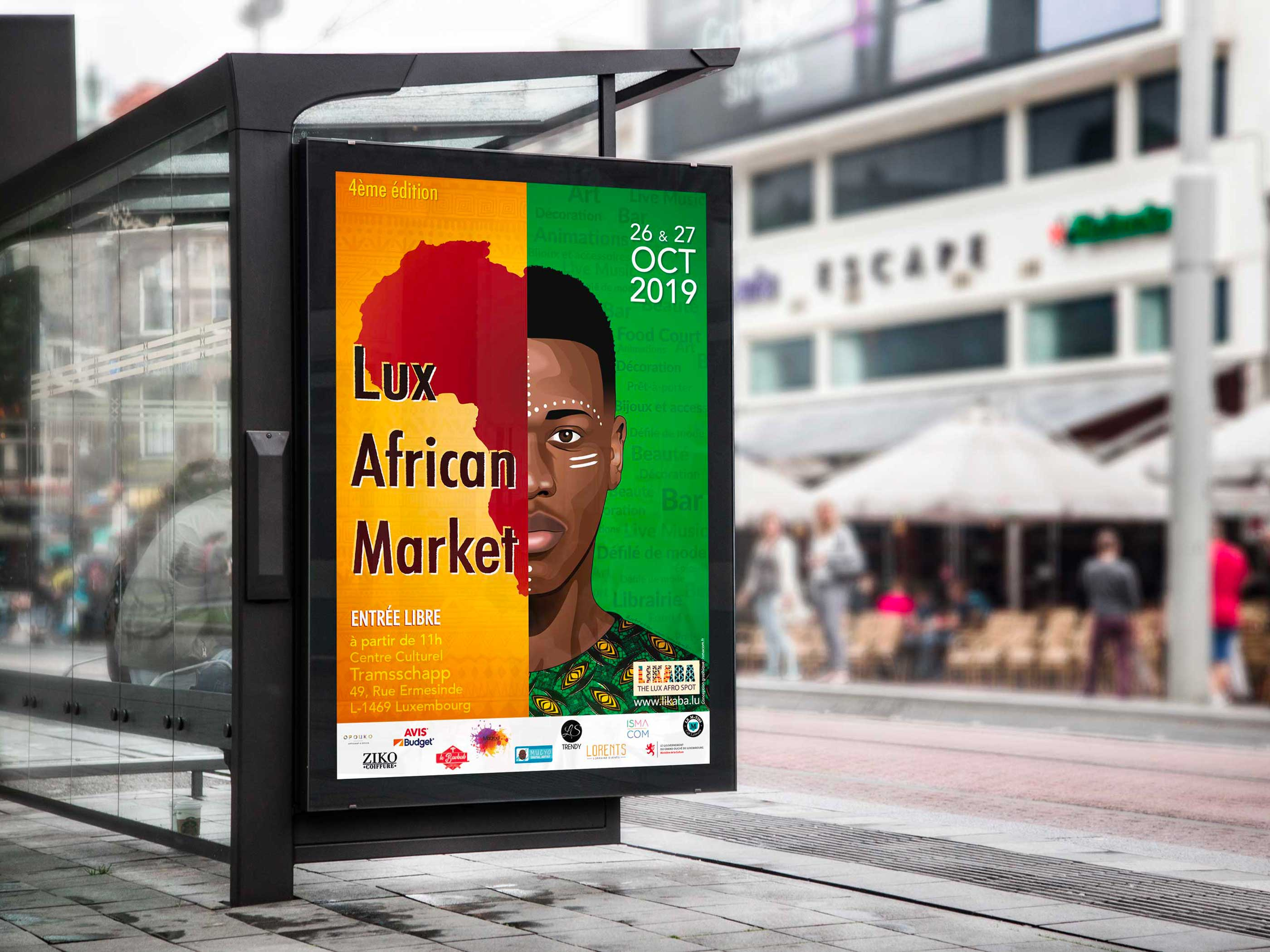 Affiche de l'evenement Lux African Market 2019 présenté sur un arrêt de bus