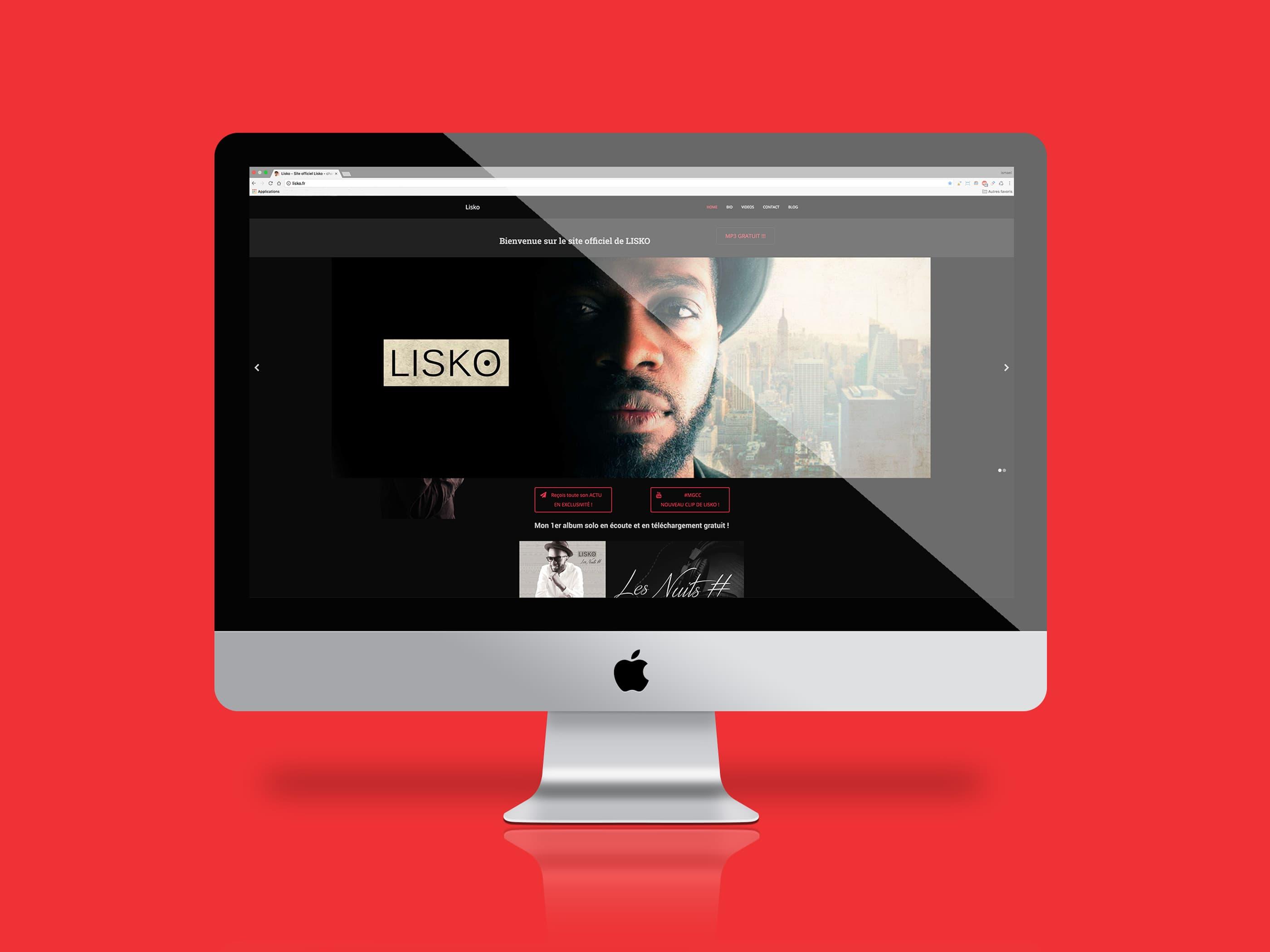 image présentant la premiere page du site lisko.fr sur l'écran d'un imac