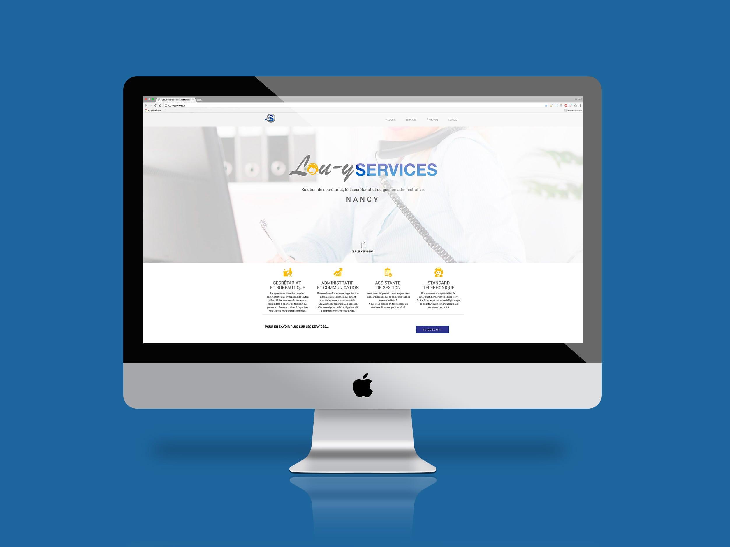 image présentant la premiere page du site lou-yservices sur l'écran d'un imac