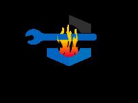 logo représentant deux clé outillage et un four d'incinération de déchets ménager au couleurs noir, bleu et feu