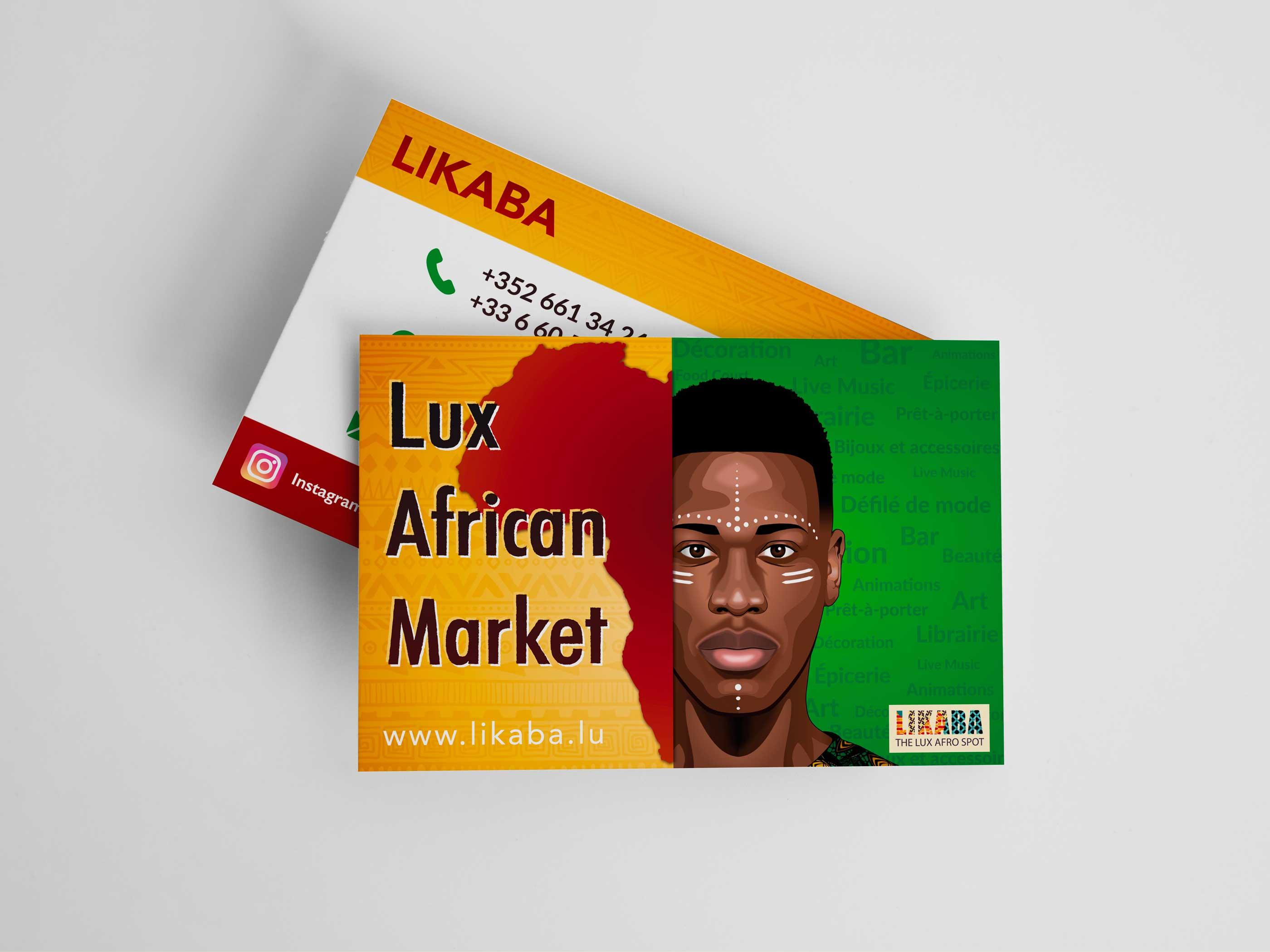 Cartes de visites Lux African Market 2019 présenté sur fond blanc