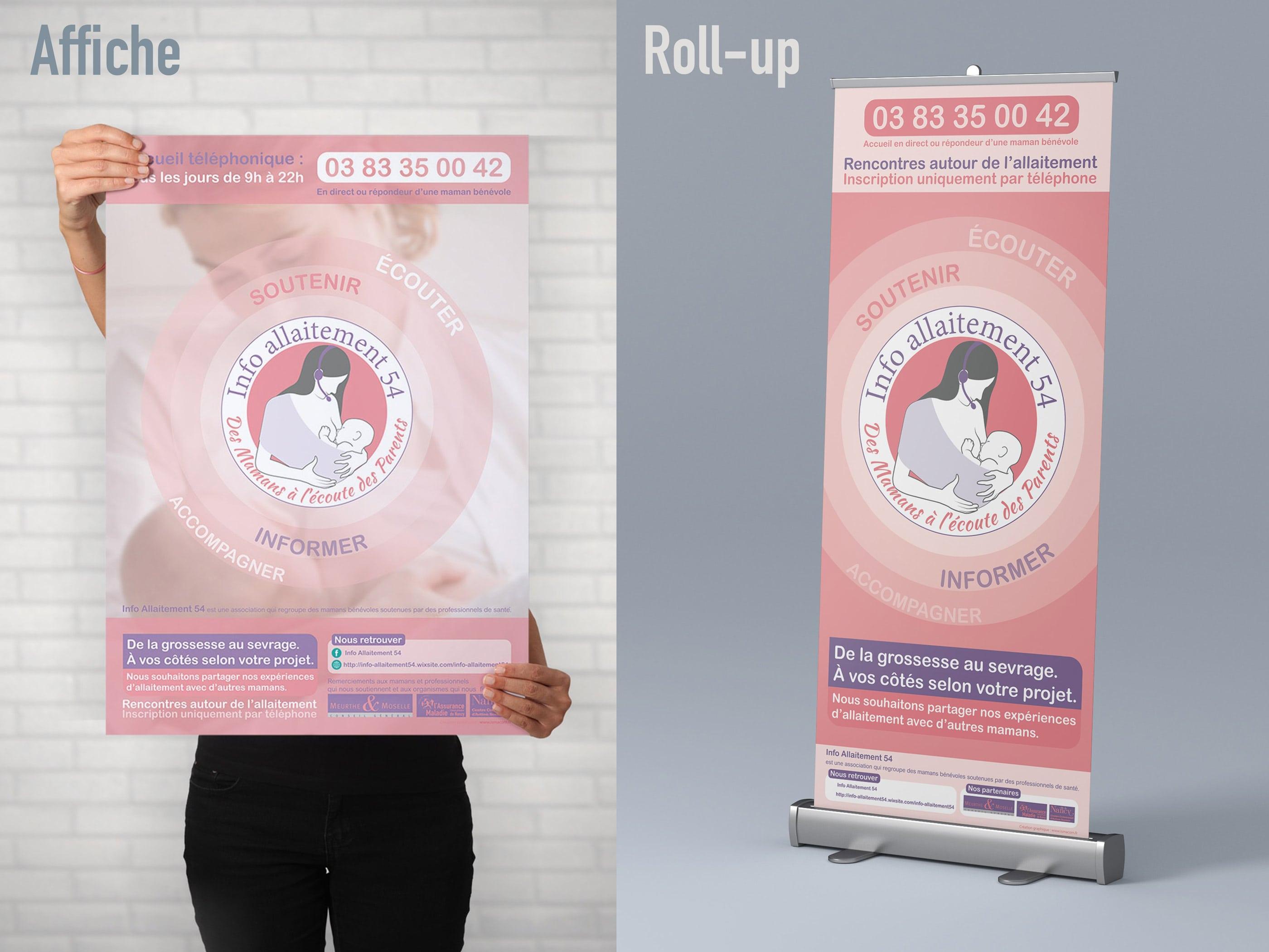 réalisation de affiche et roll up info allaitement 54